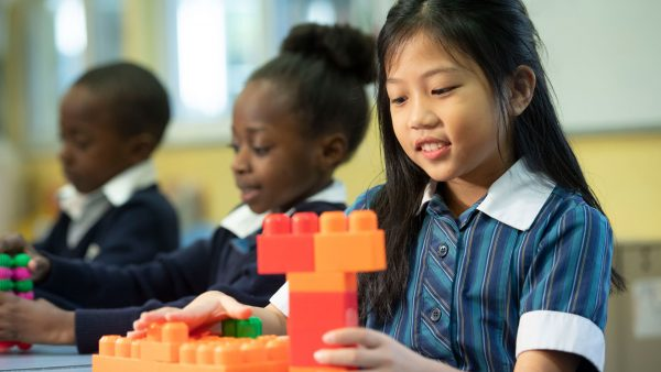 Primary Students with Blocks