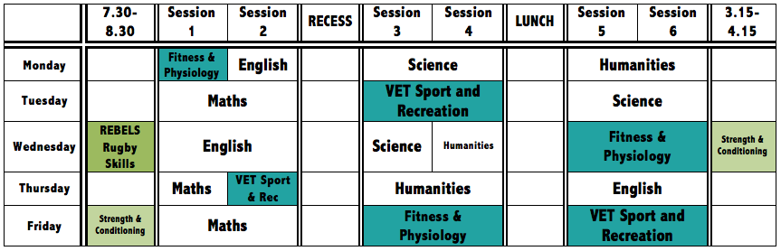 Sample timetable of Year 10 Rugby Student