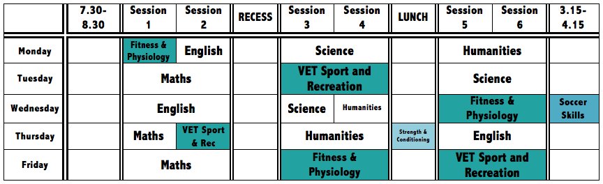 Sample timetable of Year 10 Soccer Student