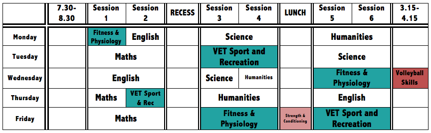 Sample timetable of Year 10 Volleyball Student